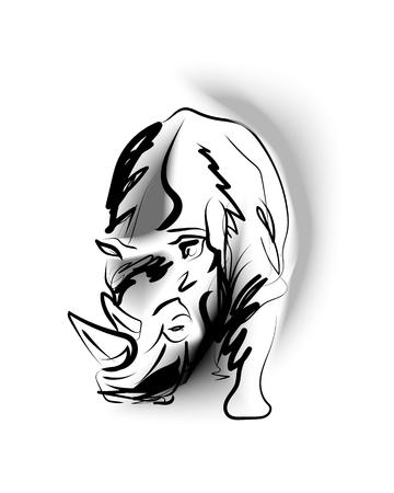 Ilustración de Vector sketch of rhino - Imagen libre de derechos