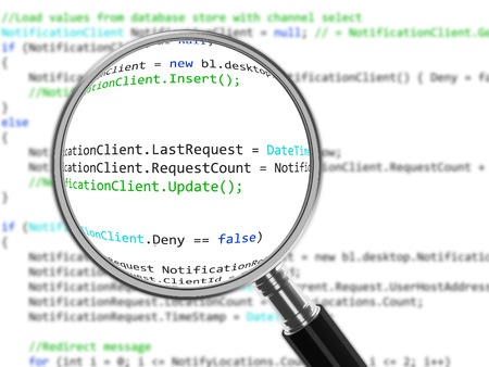 Magnifying Glass focussed on source code