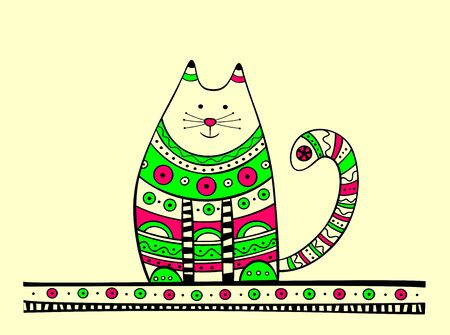 Illustration of cat, produced in ethno style with the unique colour