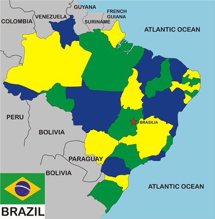 political map of Brazil country with flag and regions