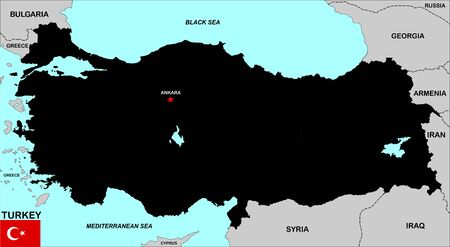 big size black map of turkey with flag