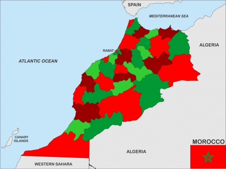 very big size morocco country political map