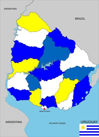 very big size uruguay country political map