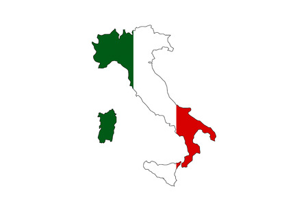 italy country national flag map shape illustration