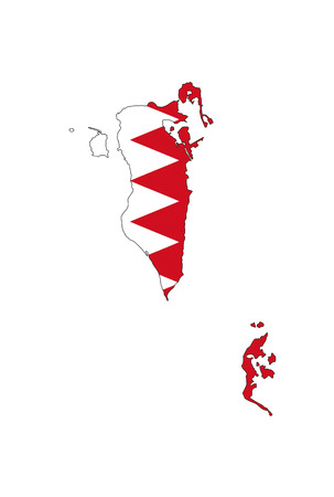 bahrain country flag map shape national symbol
