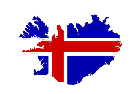iceland country flag map shape symbol illustration