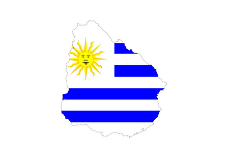 uruguay country flag map shape symbol illustration