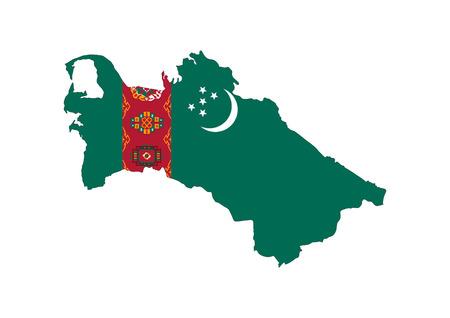 turkmenistan country flag map shape national symbol