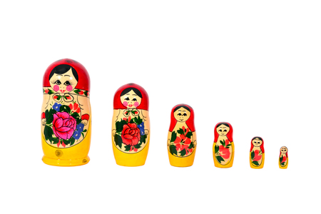 Photo pour Matryoshka Russian dolls set in a row isolated over white - image libre de droit