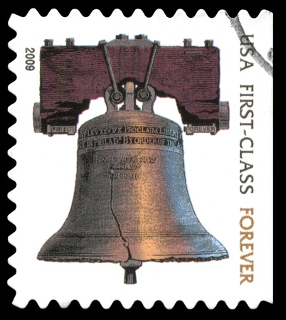 USA  forever postage stamp showing an image of the Liberty Bell