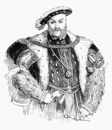 An engraved illustration portrait image of the Henry VIII  1491-1547  king of England, UK, from a Victorian book dated 1883 that is no longer in copyright,