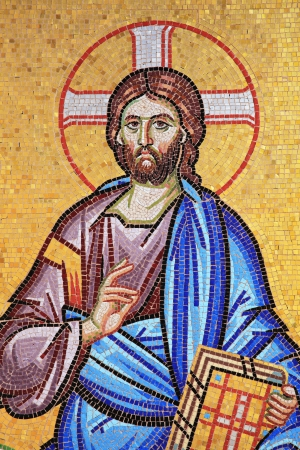 Mosaic of Jesus Christ from the exterior of  the ancient Kykkos Monastery in the Troodos Mountains Cyprus