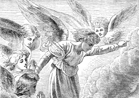 An engraved illustration of a group of angels from a Victorian book dated 1879 that is no longer in copyright