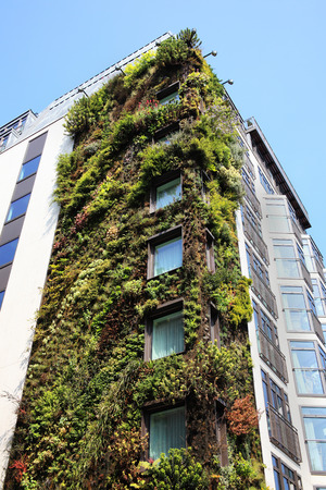 Modern ecological environmental friendly skyscraper with a facade garden covered in flora plants, London, England, UK