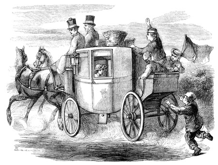 An engraved illustration image of an old fashioned Georgian horsedrawn stagecoach full of travelling passengers from a Victorian book dated 1870 that is no longer in copyright
