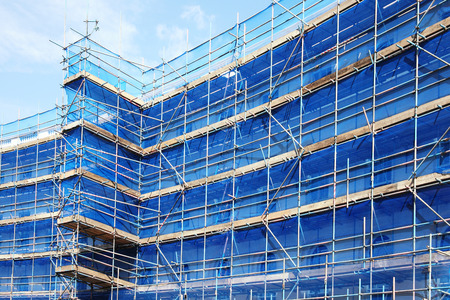 Scaffolding building frame on a building industry construction site