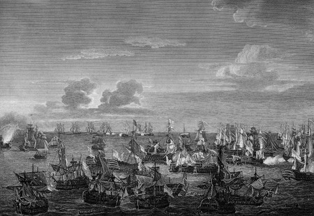An engraved  illustration image of  the Battle of Trafalgar, at which Admiral Lord Horatio Nelson defeated Napoleon Bonaparte's fleet in 1805, from a vintage Victorian book dated 1884 that is no longer in copyright