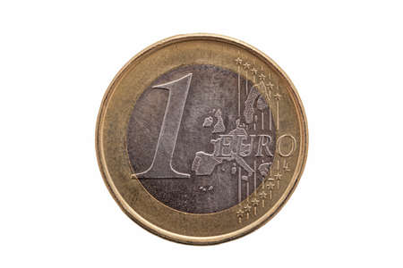 Photo pour One Euro coin of Germany dated 2002 cut out and isolated on a white background - image libre de droit