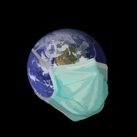 A graphic representation of the earth in the grip of a pandemic situation.