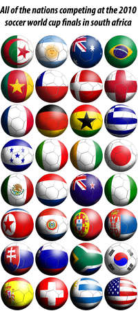 All of the nations competing at the 2010 FIFA world cup finals in south africa represented as football shaped flags.