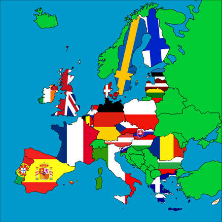 A map of Europe with all the EU member countries represented by their flags.