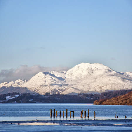A view of the majestic and impressive ben lomond from across loch lomond near the scottish town of balloch.