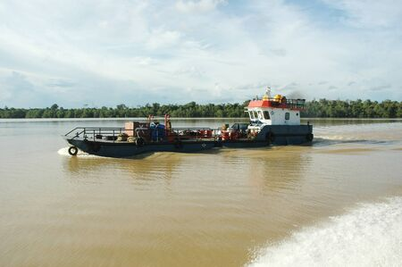 pontoon ship on the river