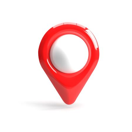 Photo pour Red GPS pointer. Red map pointer. isolated on white background. three-dimensional rendering. 3d render. - image libre de droit