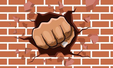 punching fist smashing through a concrete and brick wall