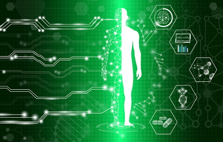 Photo pour abstract background technology concept in green light,human body heal,technology modern medical science in future and global international medical with tests analysis clone DNA human - image libre de droit