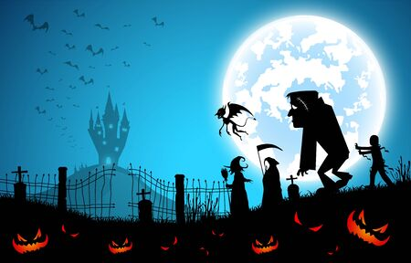 Illustration for illustration blue background,festival halloween concept,full moon on dark night with many ghost,scarecrow,frankenstein and devil walking to castle for celebration halloween day - Royalty Free Image