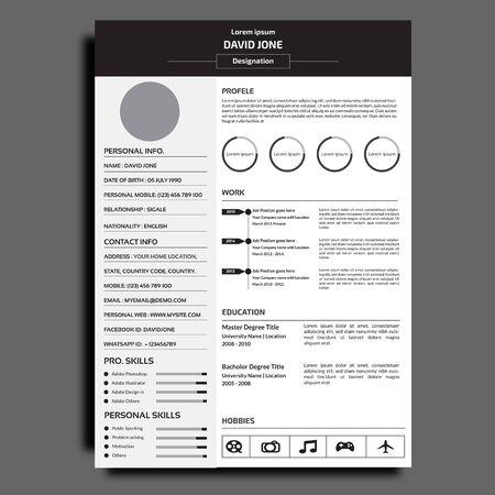 Illustration pour Professional  resume or cv template. - image libre de droit
