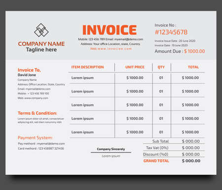 Illustration for Corporate Business invoice design template - Royalty Free Image