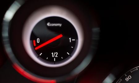 Economy fuel gauge nearing empty