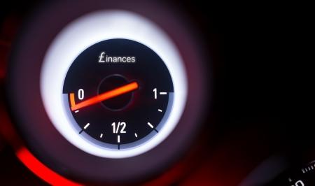 Finances fuel gauge at empty
