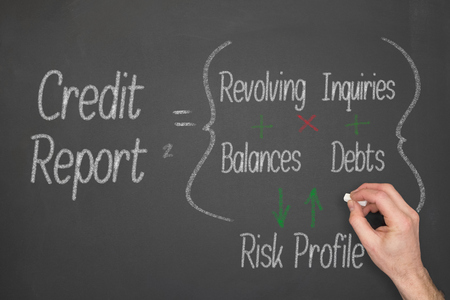 Credit Report concept formula on a chalkboard