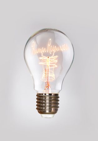 Human Resources concept in a filament lightbulb.