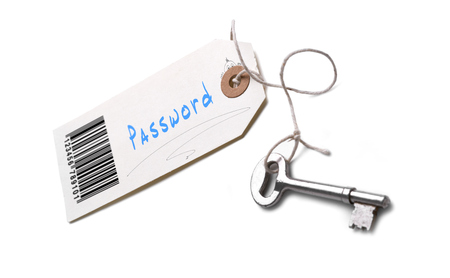 Photo pour A silver key with a tag attached with a Password concept written on it. - image libre de droit