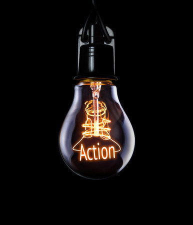 Photo for Hanging lightbulb with glowing Action concept. - Royalty Free Image