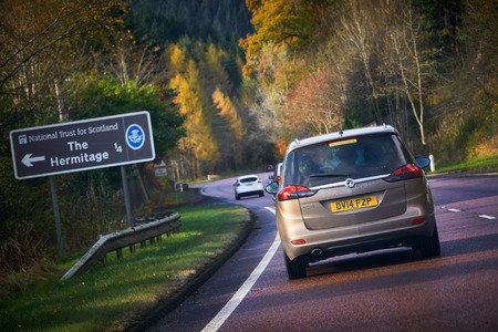 THE HERMITAGE, SCOTLAND, UK - NOVEMBER 05, 2016: Traffic approaching the Hermitage, National Trust for Scotland.