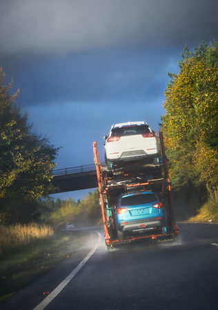 A1 MOTORWAY LAMBERTON, SCOTLAND, UK - NOVEMBER 05, 2016: A car transporter traveling along the A1 in Scotland.
