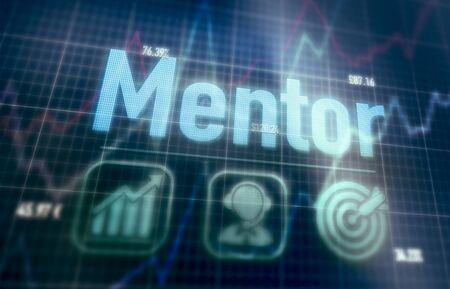 Photo pour Mentor concept on a blue dot matrix computer display. - image libre de droit