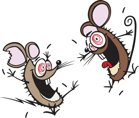 Two crazy cartoon mice  Layered vector and high resolution jpeg files