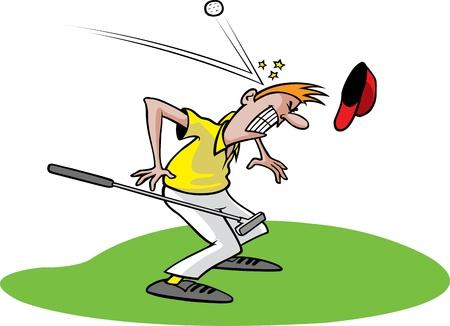 Cartoon of an unlucky golfer  Layered  and high resolution jpeg files available