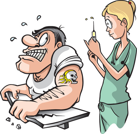 Nurse and strong Man  A cartoon of a nurse about to give a shot to a scared adult muscle bound male