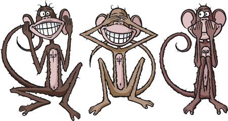 Cartoon of see no evil, hear no evil, speak no evil monkeys