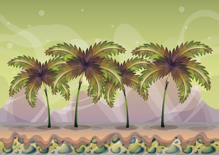 Illustration pour cartoon vector nature landscape background with separated layers for game art and animation game design asset in 2d graphic - image libre de droit