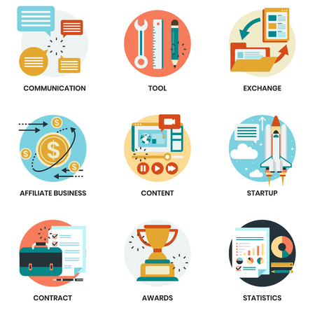 Illustration for Business icons set for business, marketing, management - Royalty Free Image