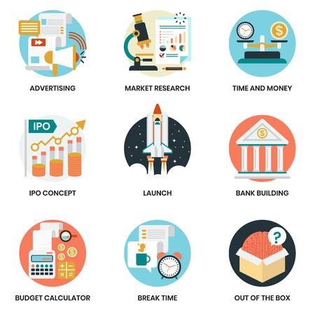 Vektor für Business icons set for business, marketing, management - Lizenzfreies Bild