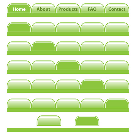 Web buttons, green navigation bars set with individual blank tabs. Isolated on white.